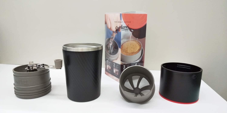オールインワンのコーヒーメーカー1台で、どこでも挽きたてのコーヒーが飲めちゃうんです