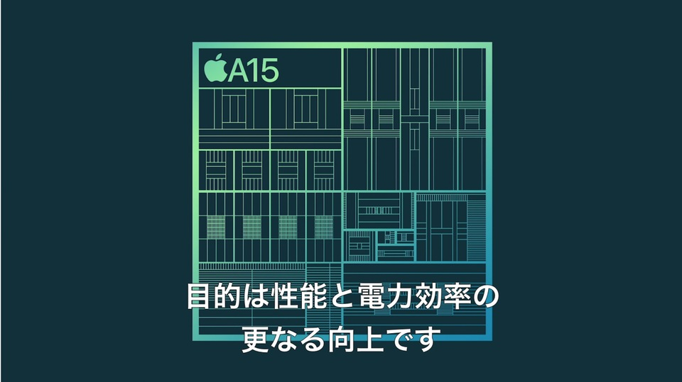 iPhone 13は最新チップ「A15 Bionic」搭載です。繰り返します、「A15 Bionic」搭載です